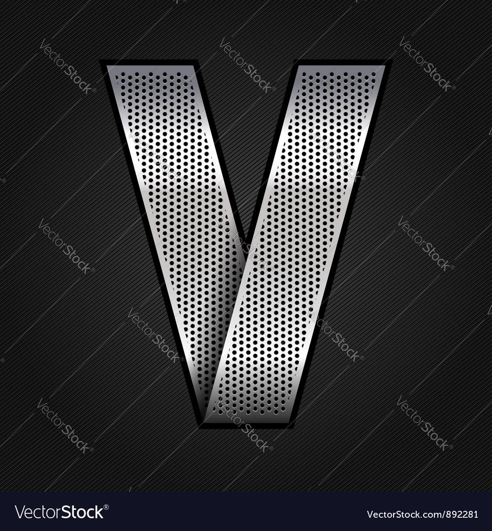 Letter metal chrome ribbon - V vector image