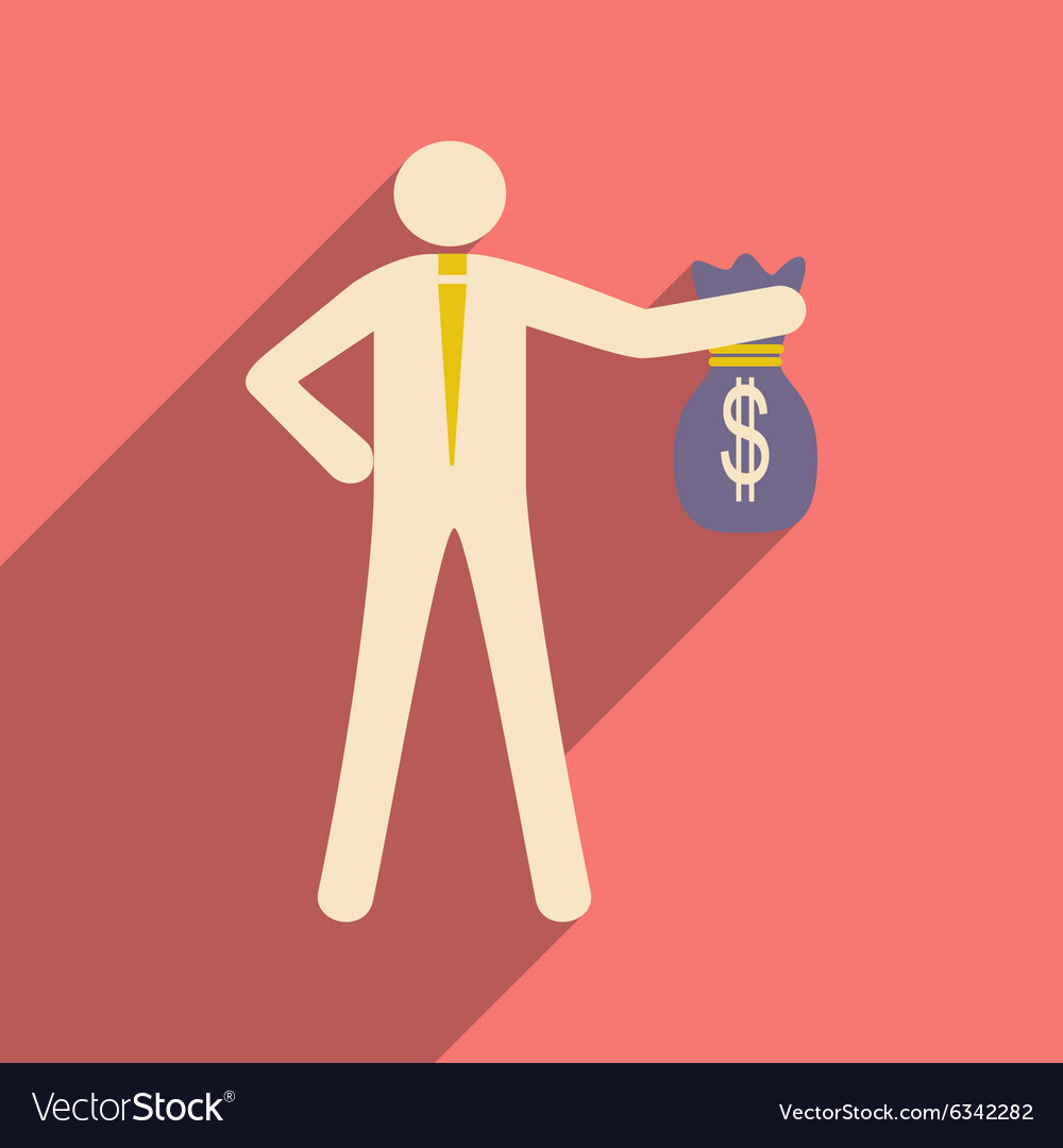Modern flat icon with shadow man with bag of money