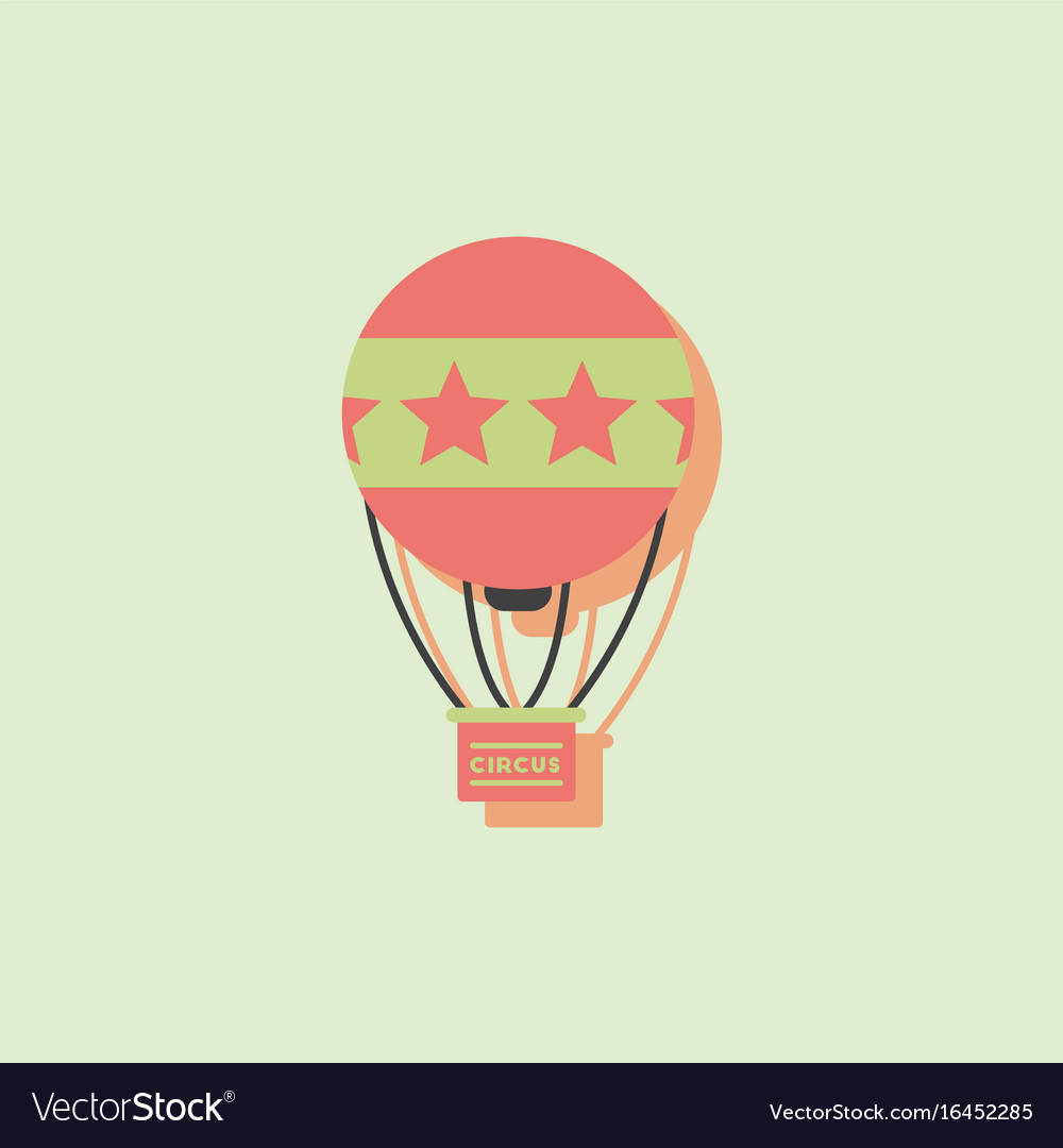 Circus watercolor hot air balloon in sticker style