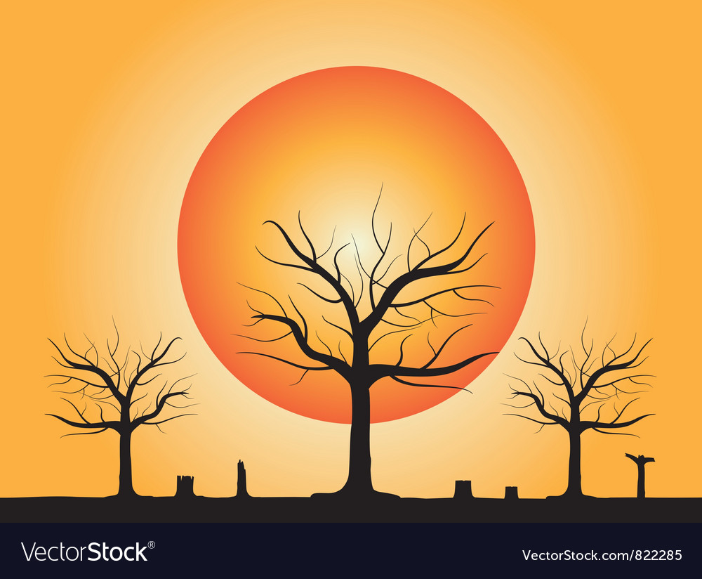 Dead tree with stub vector image