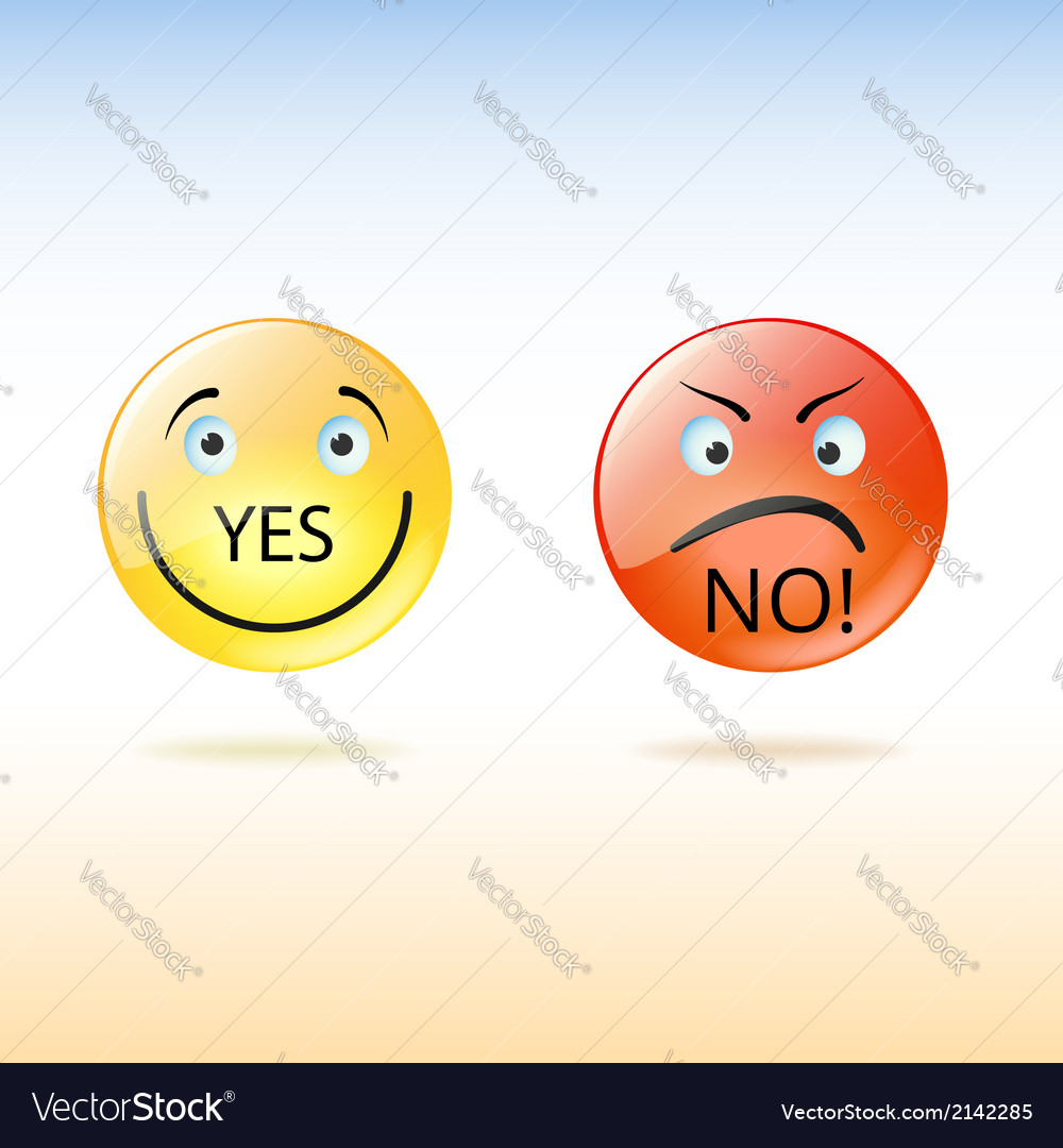 Two faces good and evil yes and no vector image