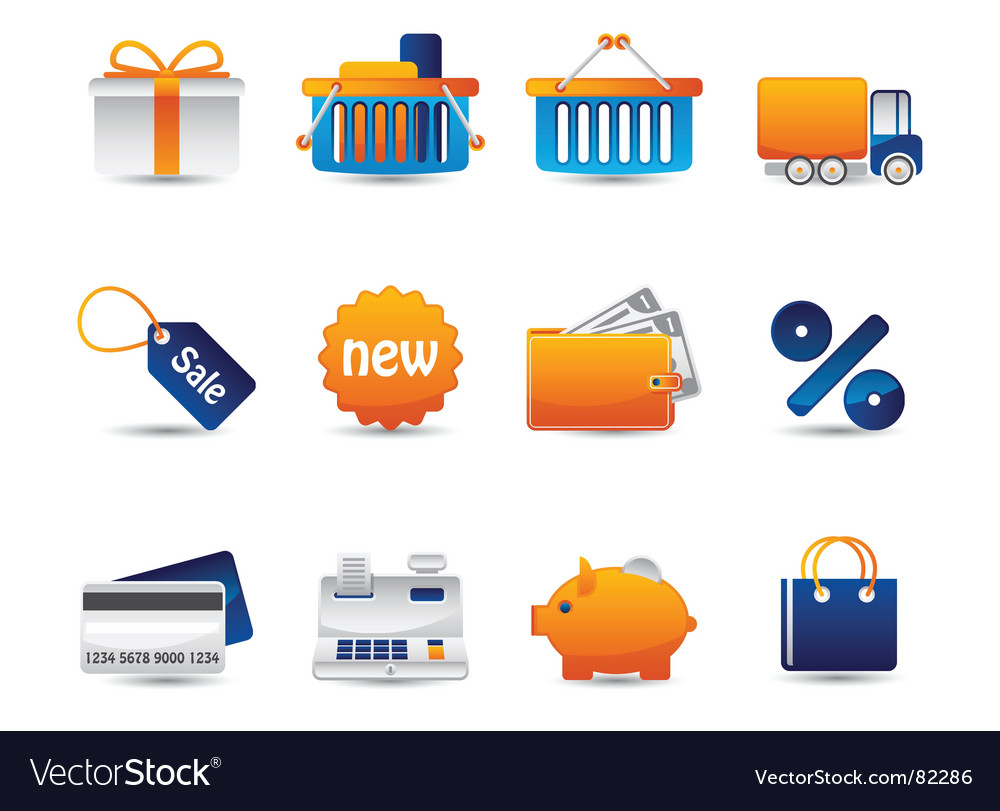 Shopping icons set vector image