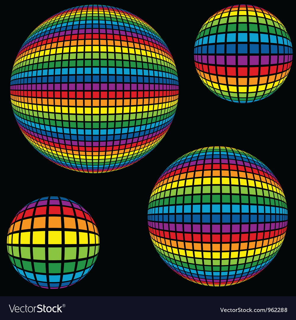 Rainbow Disco Ball vector image