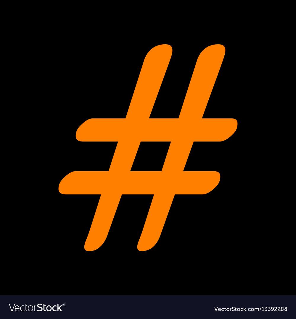 Hashtag sign orange icon on black vector image