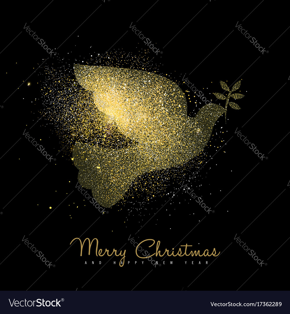 Christmas and new year gold glitter peace dove art vector image