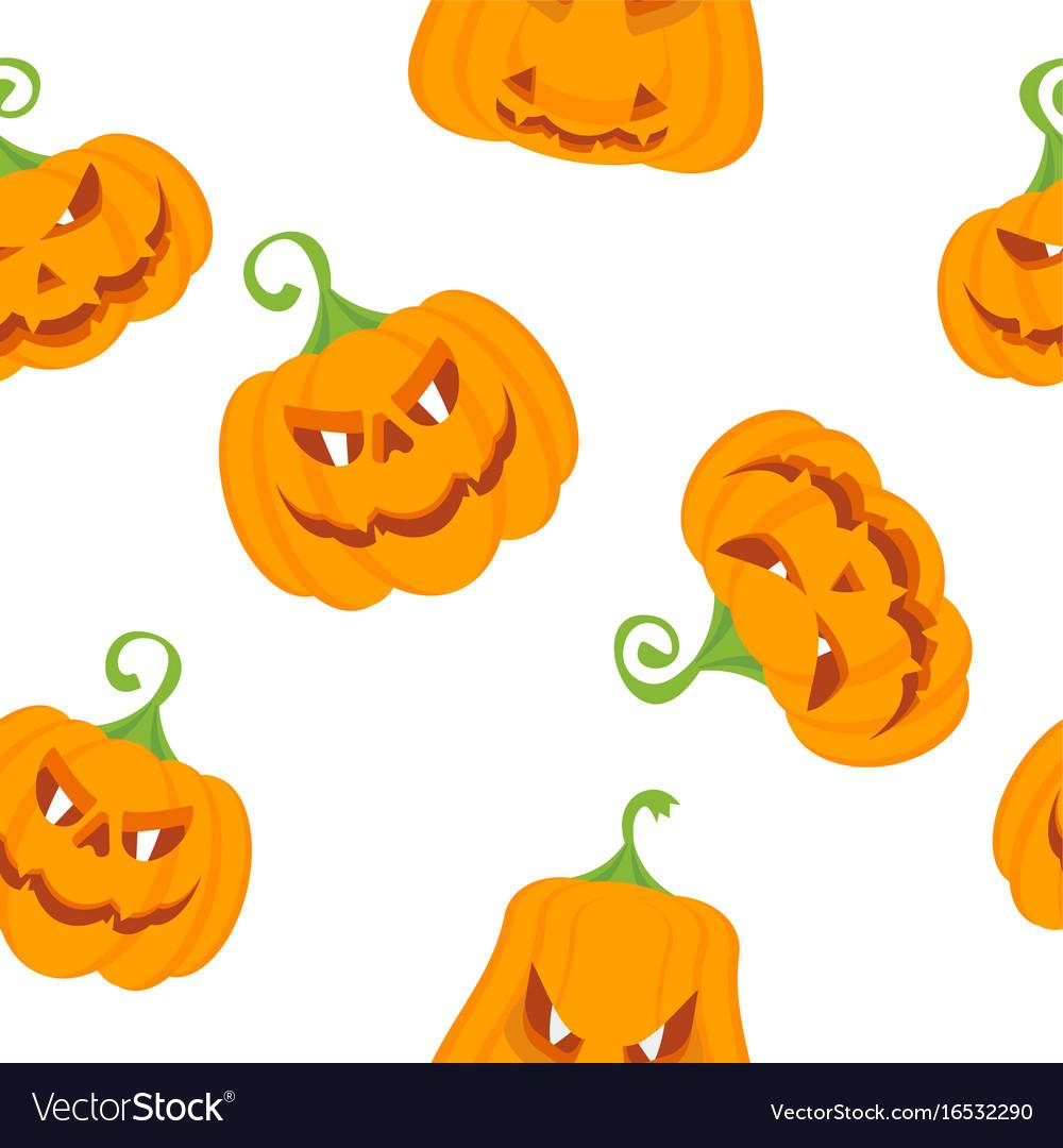 Pattern color pumpkins vector image