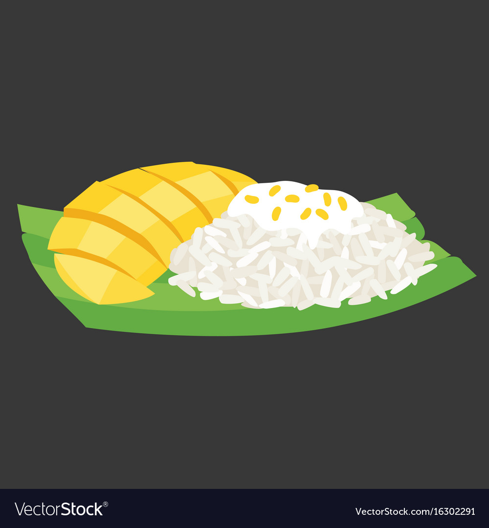 Sticky rice with mango on banana leaf vector image