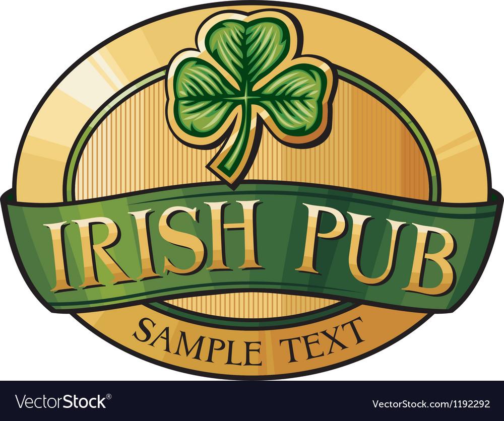 Irish pub label design vector image