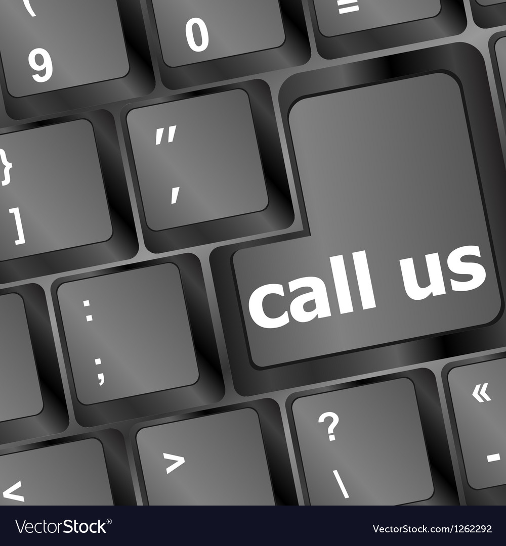 Keyboard with call us button vector image