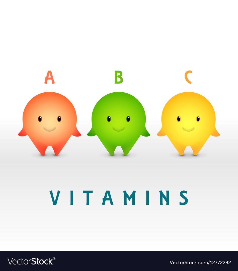 Cartoon characters Vitamin pills for healthy vector image