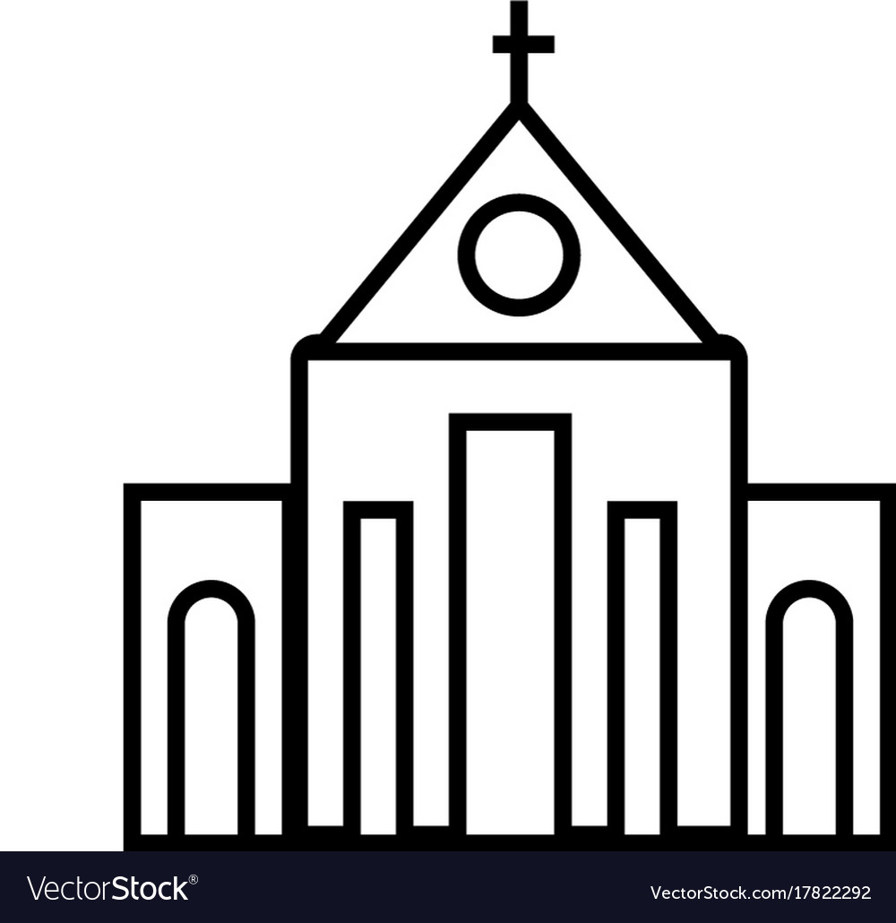 Church line icon sign on vector image