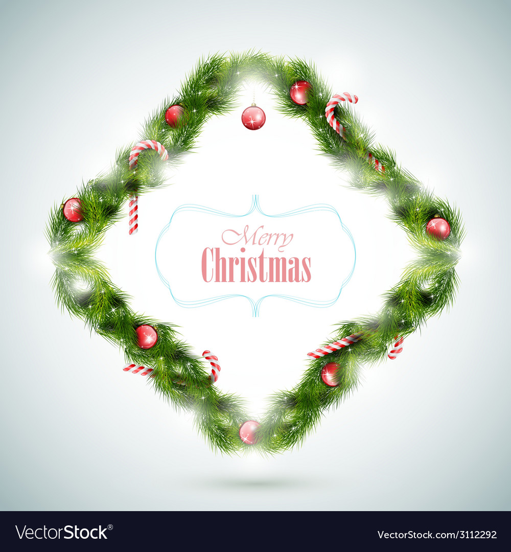 Greeting Card With Christmas Attributes vector image