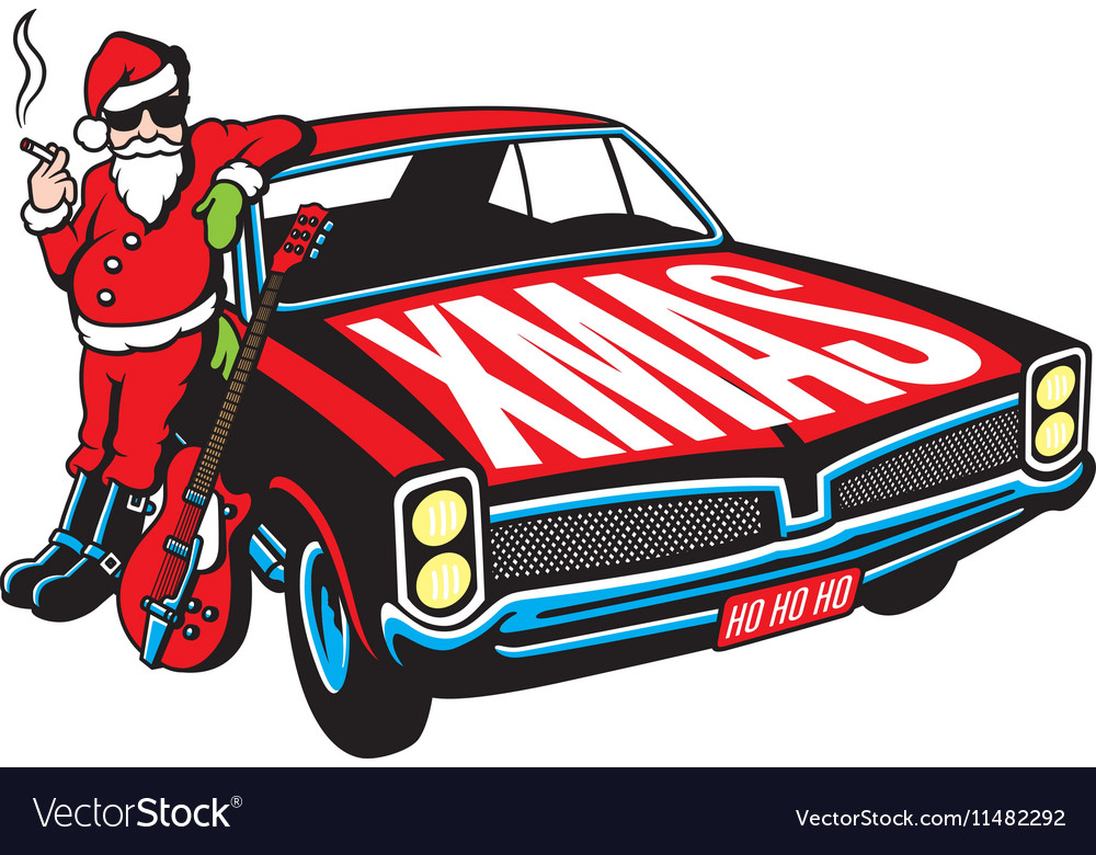 Rock and Roll Santa Claus design vector image