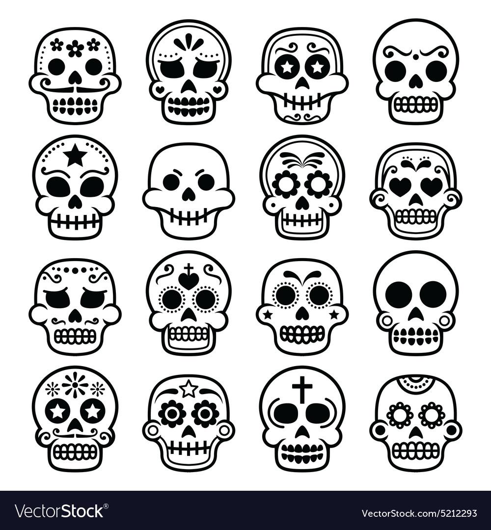halloween mexican sugar skull dia de los muertos vector image - Mexican Halloween Skulls