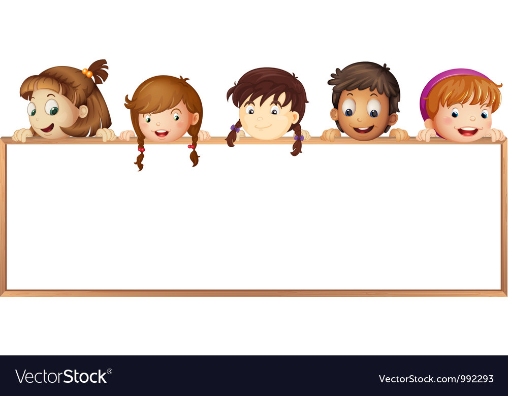 Kids Holding Wooden Frame Royalty Free Vector Image