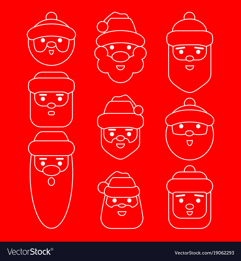 Set santa claus cartoon character vector image