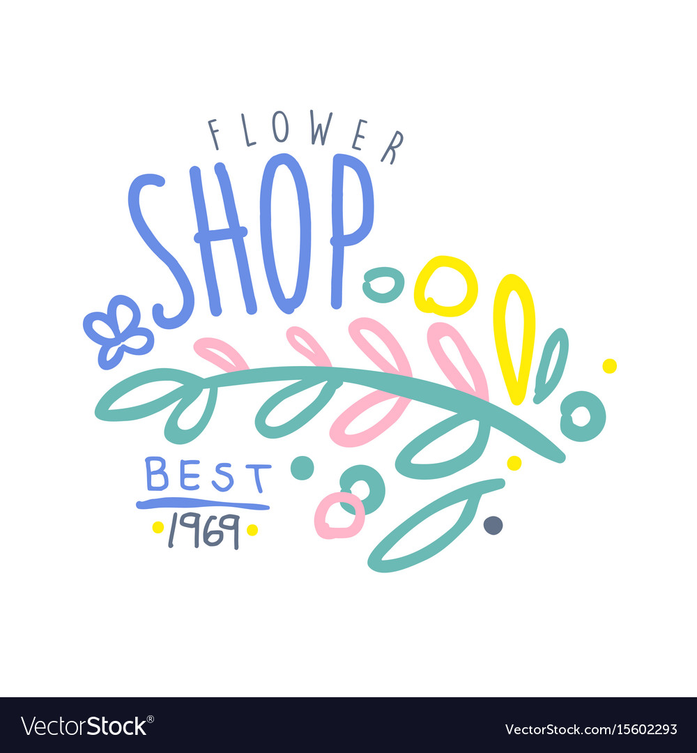 Shop flower best 1969 logo template colorful hand vector image