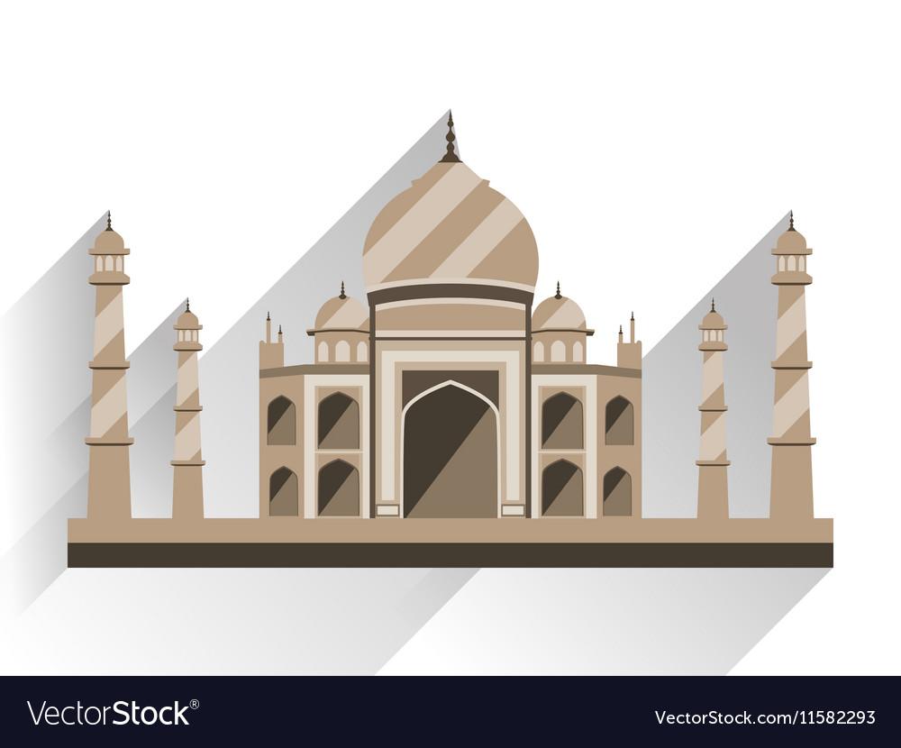 Taj Mahal flat style with long shadow vector image