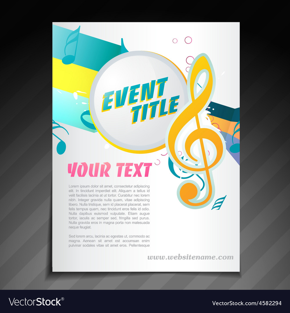 Music brochure design Royalty Free Vector Image VectorStock – Music Brochure