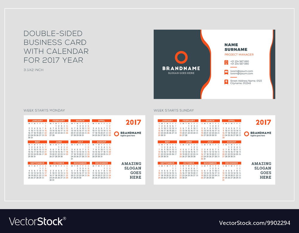 Double sided business card template with calendar vector image accmission Image collections