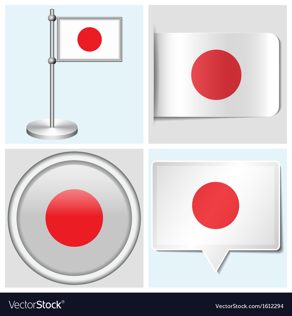 Japan flag - sticker button label flagstaff vector image