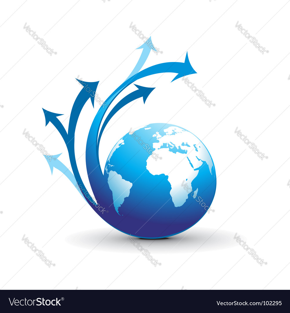 Swirl arrow globe vector image