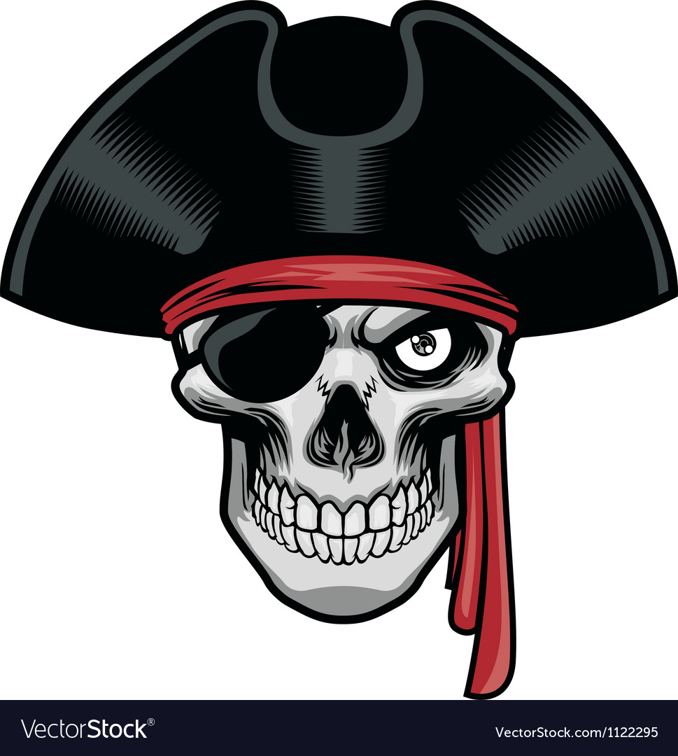 Pirate skull with hat and eye patch vector image