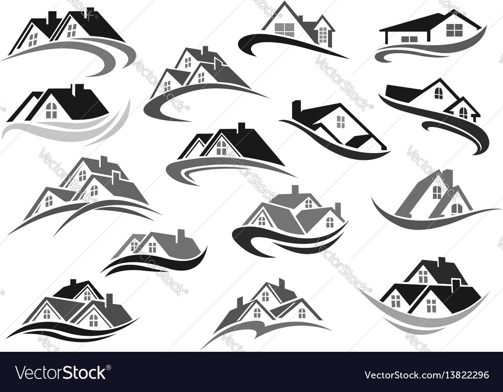 Residential icons of real estate house vector image