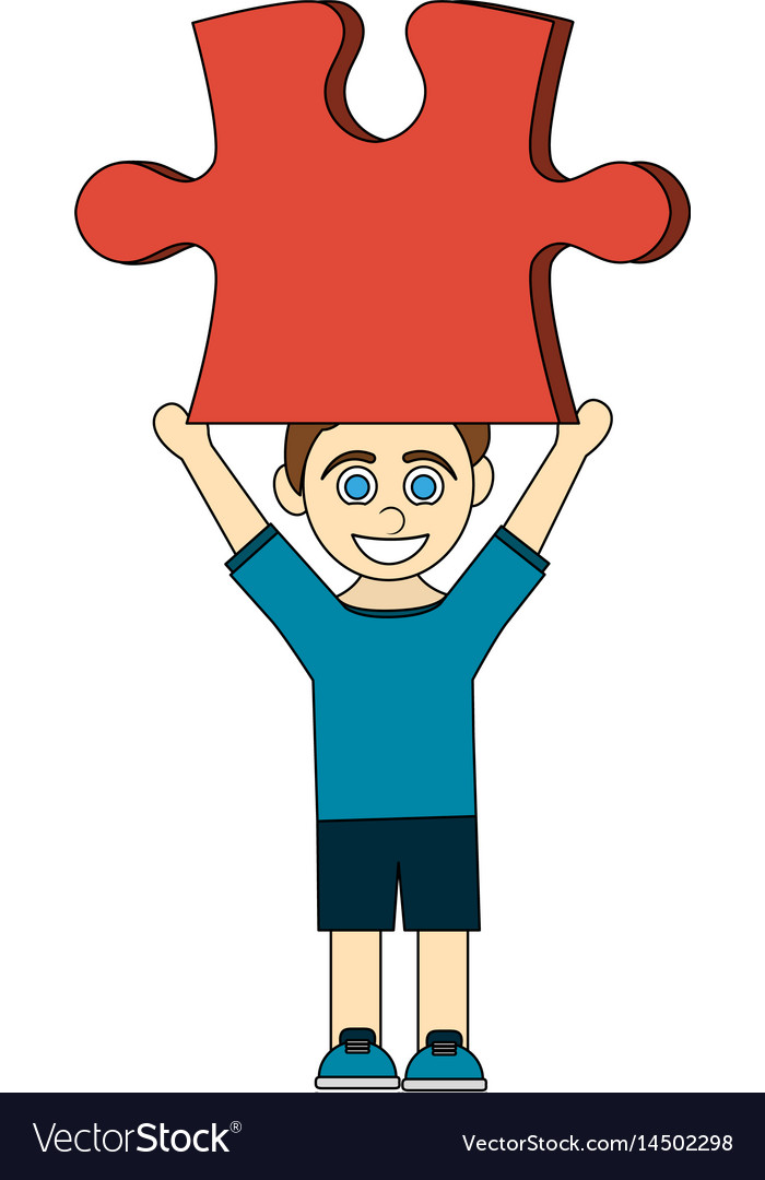 Colorful caricature boy with red puzzle piece up vector image