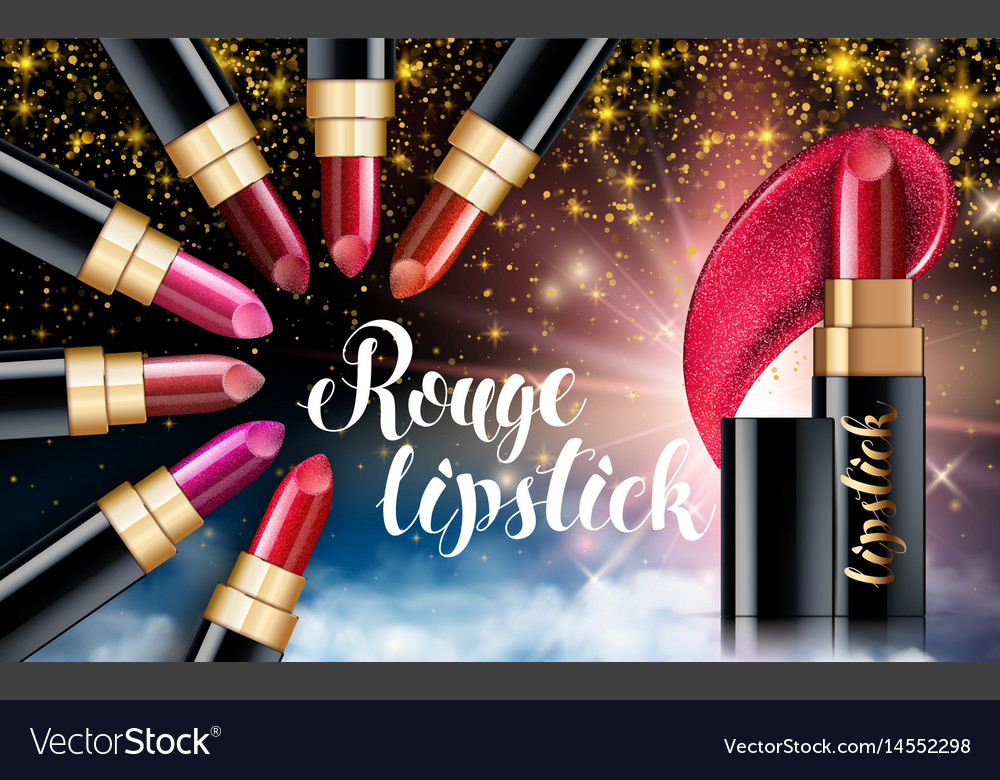 Makeup ads red lipstick sparkling background Vector Image