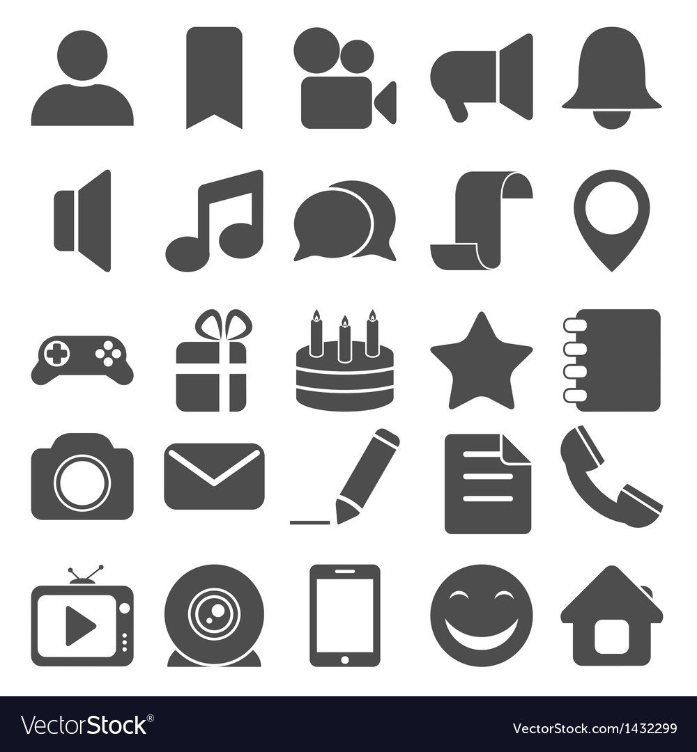 Social and media icons vector image