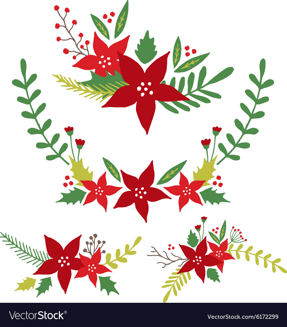 Christmas Flowers Floral Arrangements vector image