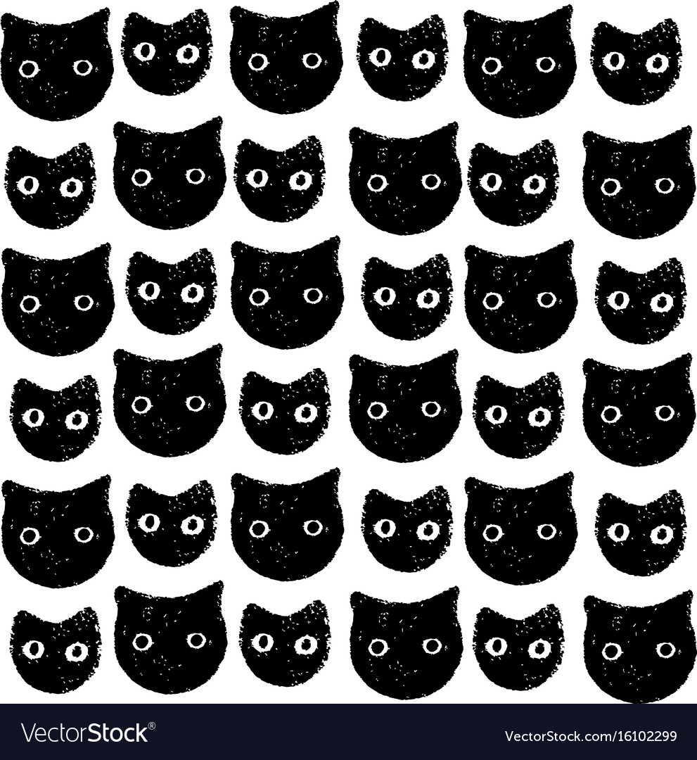 Funny kitten pattern hand drawn art vector image