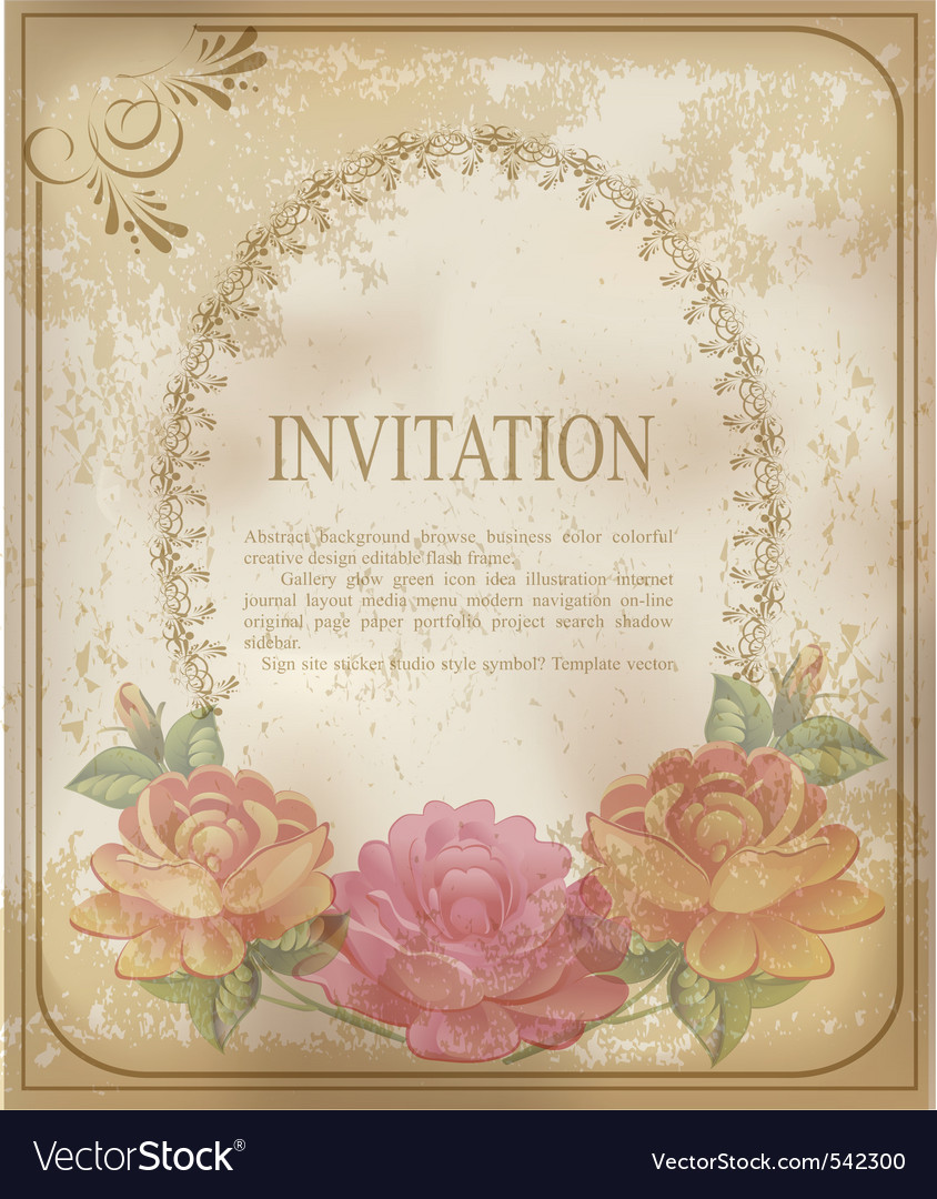 Vintage invitation background vector image