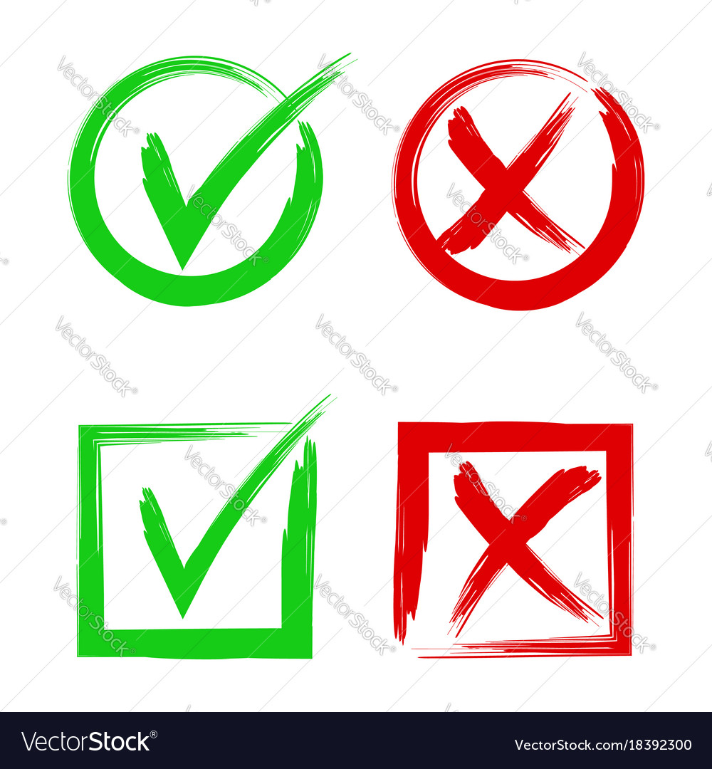 Tick and cross signs symbols yes and no accept vector image buycottarizona Gallery