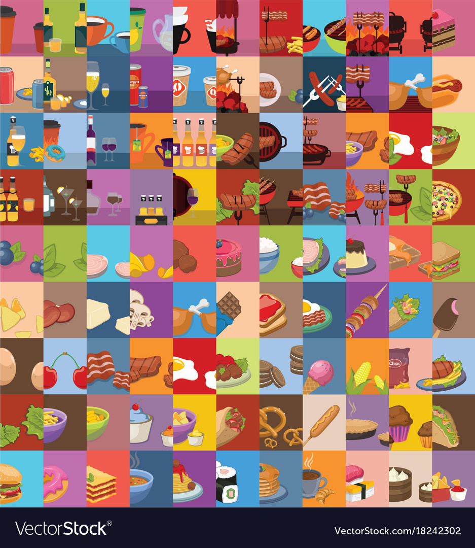 Large set of food icons vector image