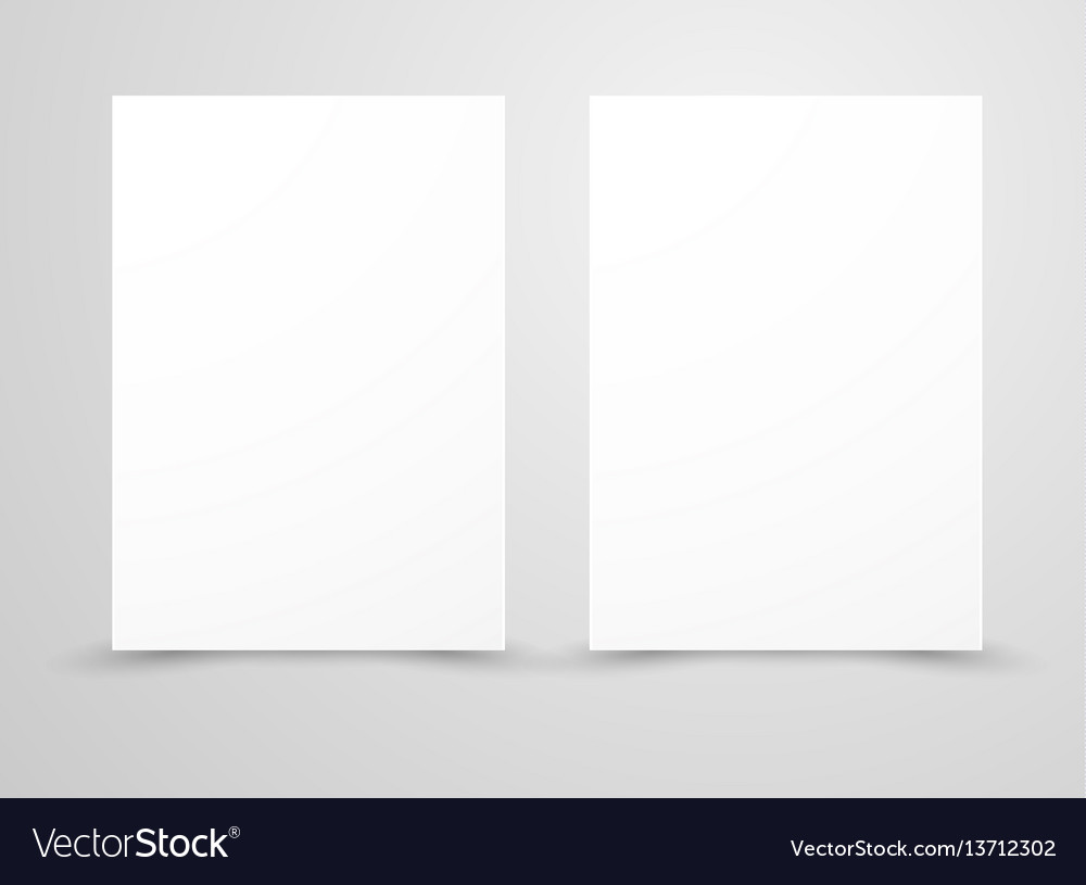 Two blank and white sheets of paper isolated vector image