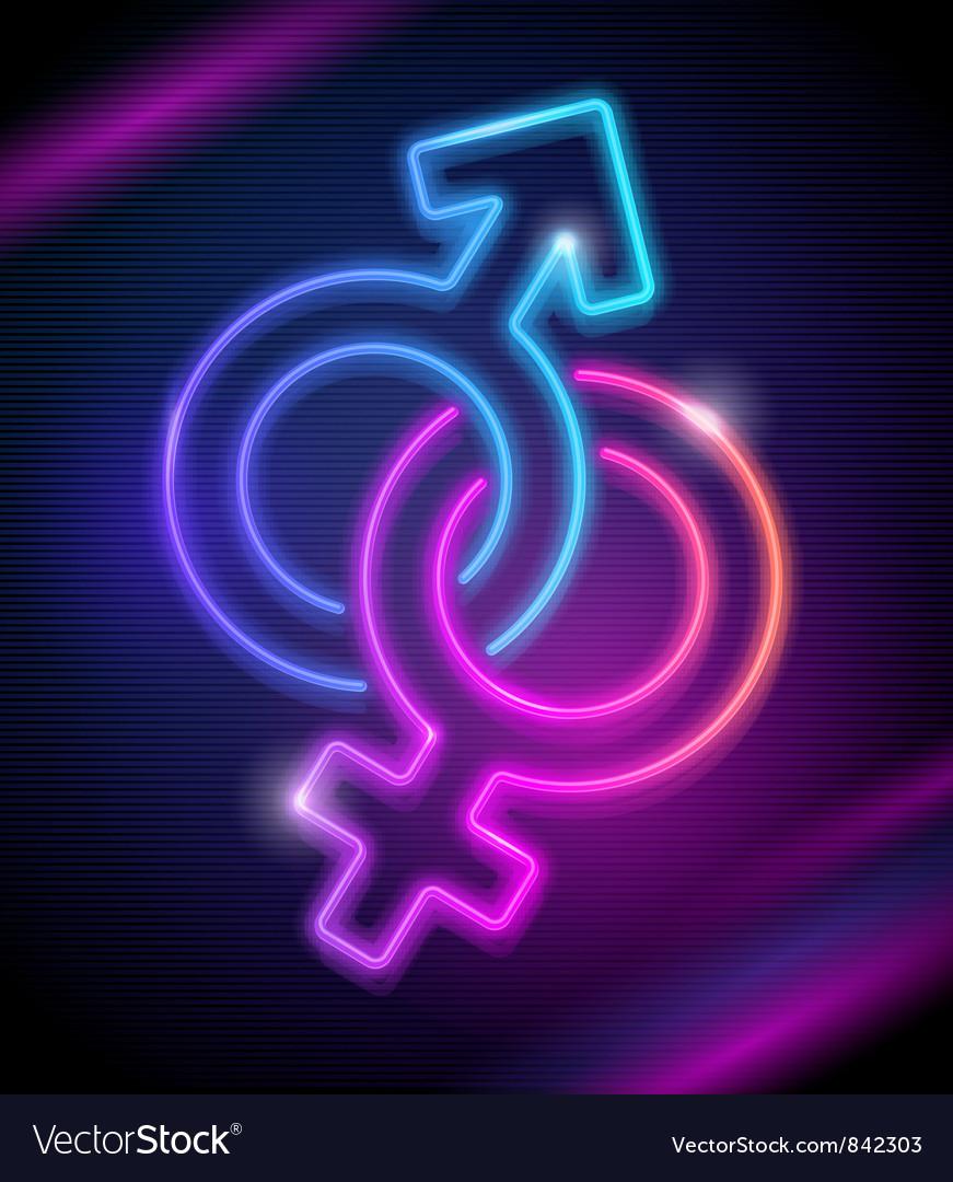 Neon sings of Venus and Mars vector image