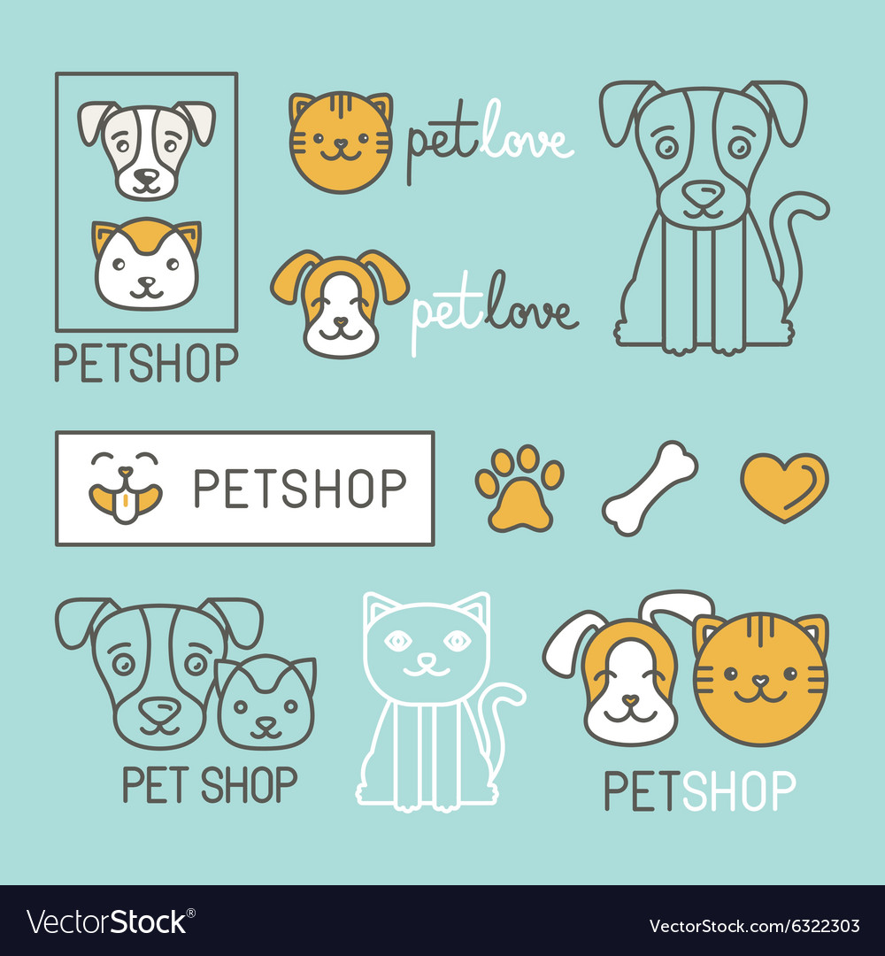 Pet logo design elements vector image