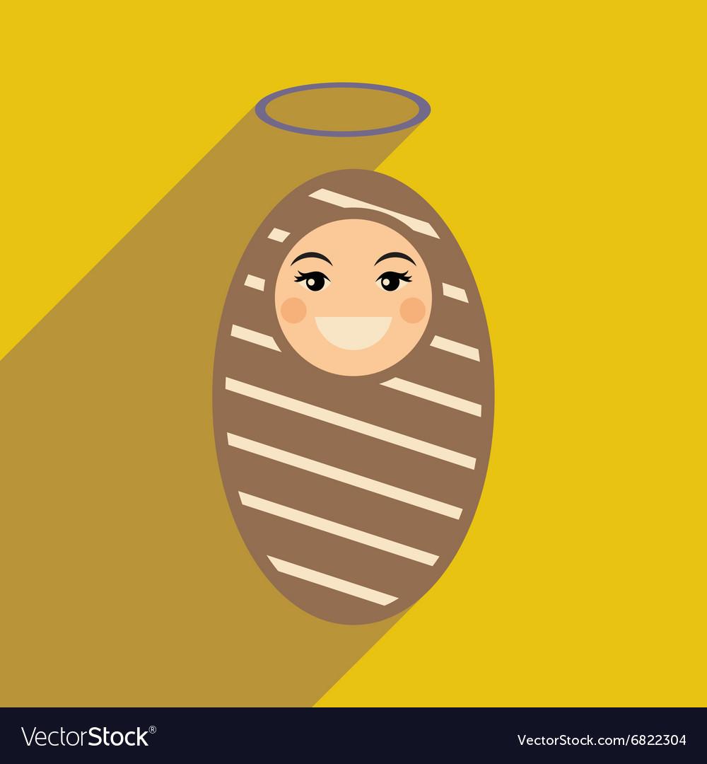 Flat icon with long shadow newborn Jesus