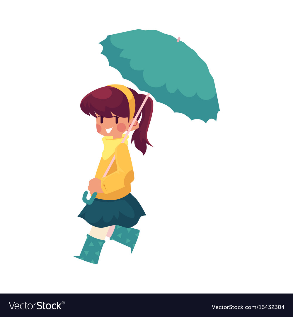 Girl keeping umbrella in hand isolated vector image
