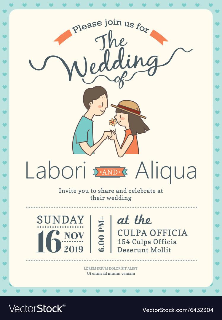 Groom and bride wedding invitation card template Vector Image