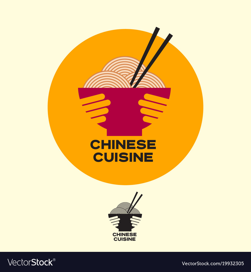 Chinese cuisine logo asian food noodles chopsticks vector image