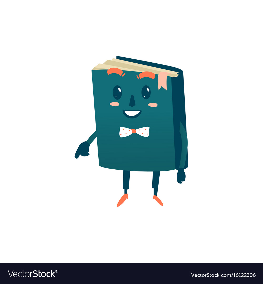 Cartoon smiling humanized book in bowtie vector image