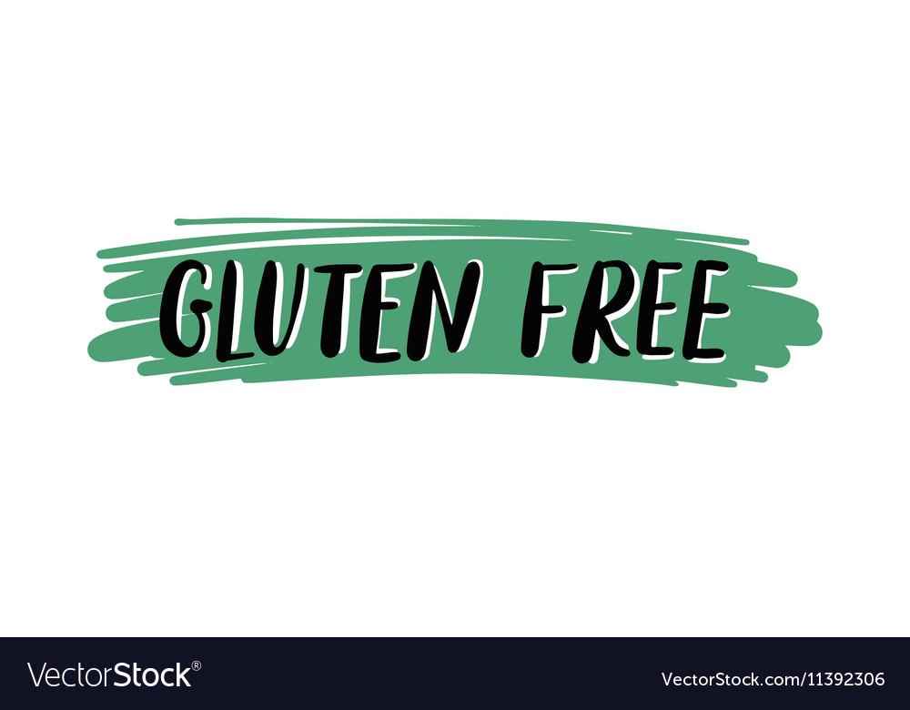 Gluten free hand written inscription on green vector image