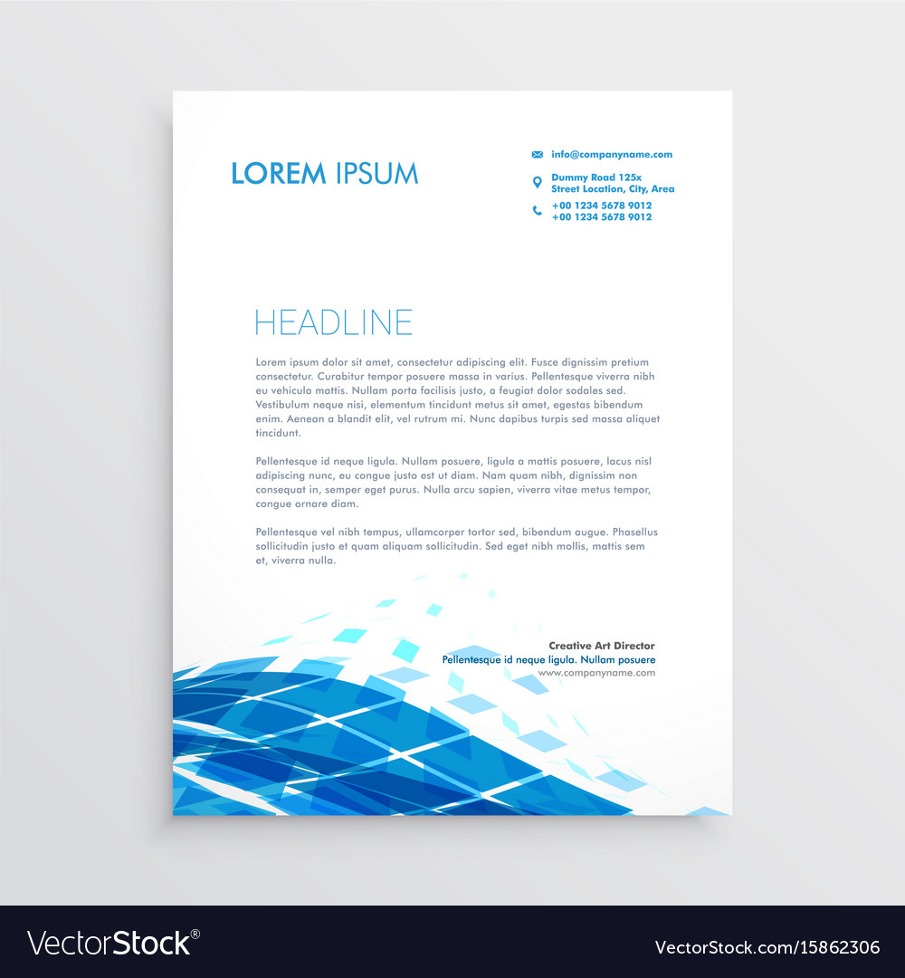 Modern letterhead template design with blue vector image