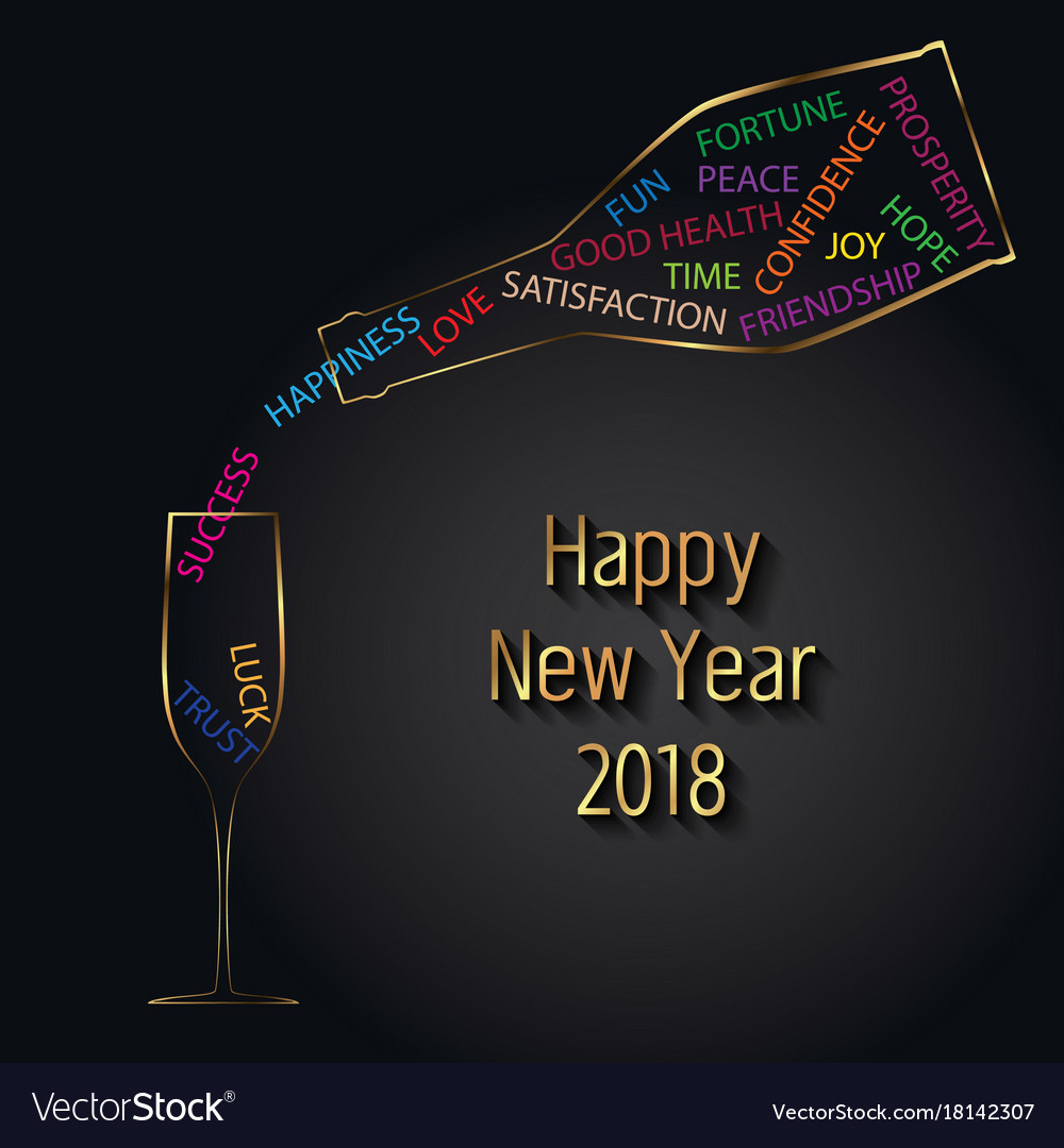 New year 2018 typography champagne bottle glass vector image