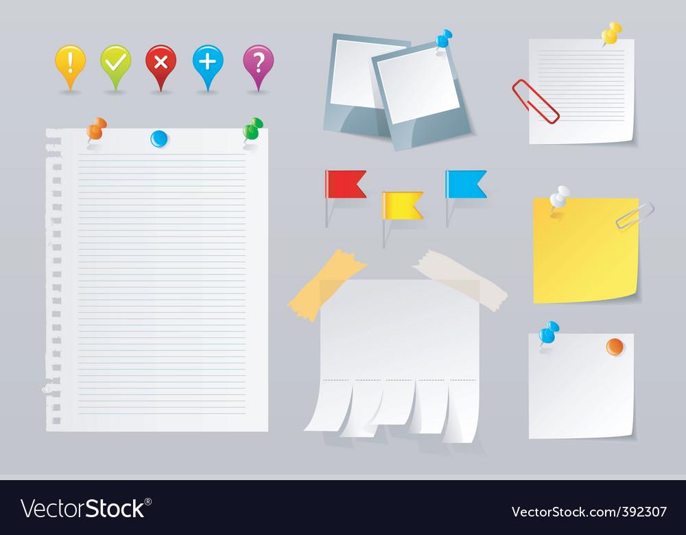 Paper pins set vector image