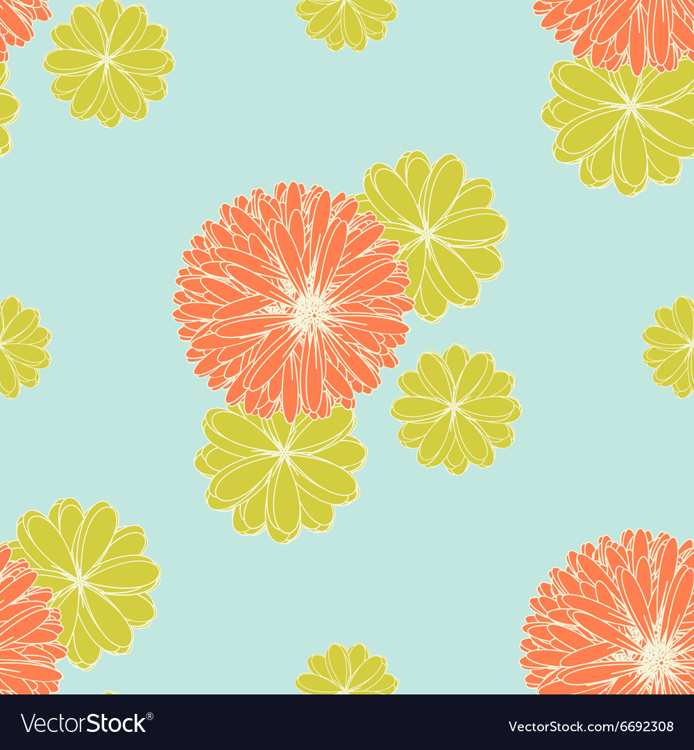 Coral and yellow green flowers pattern royalty free vector coral and yellow green flowers pattern vector image mightylinksfo