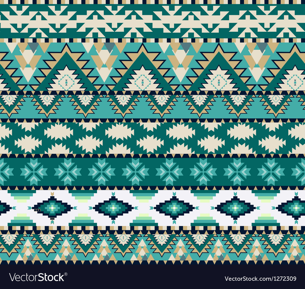 Aztec seamless pattern on cold color vector image